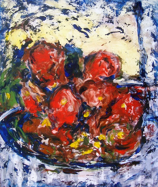 CORBEILLE AUX FRUITS ROUGES 55cmx65cm